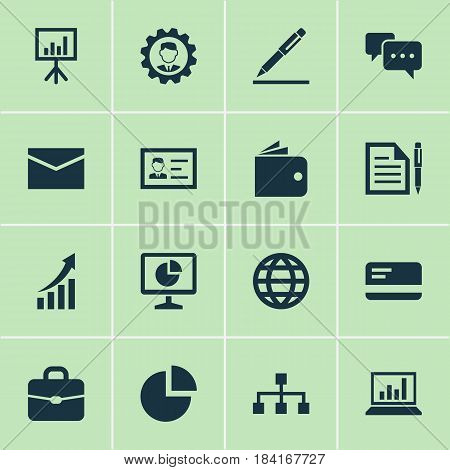 Trade Icons Set. Collection Of Suitcase, Pen, Payment And Other Elements. Also Includes Symbols Such As Graph, Briefcase, Chatting.