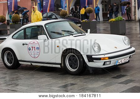 Neuoetting,Germany-April 28,2017: A participant arrives at the Neuoetting Stage Finish line of the Arabella Classics Rally