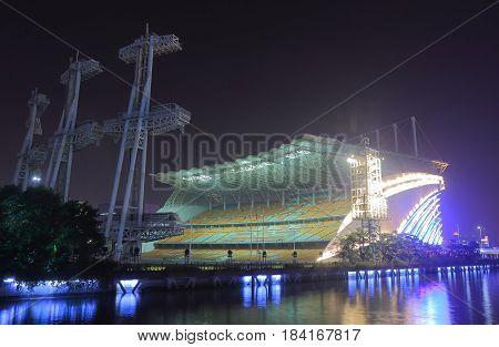 GUANGZHOU CHINA - NOVEMBER 13, 2016: Guangzhou Stadium night cityscape.