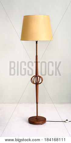 Stylish Wooden Floor Lamp With Yellow Shade