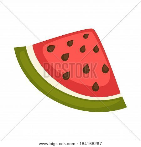 Slice of watermelon with red flesh and black seeds vector illustration isolated on white. Fresh organic berry part, juicy summer fruit logo in flat design cartoon style, healthy food concept