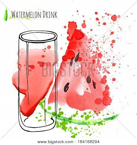 Watermelon drink with slise of watermelon. Fresh juice in glass with watermelon peace. Isolated hand draw vector art on white background