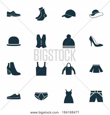 Clothes Icons Set. Collection Of Waistcoat, Trilby, Singlet And Other Elements. Also Includes Symbols Such As Tank, Briefs, Panama.