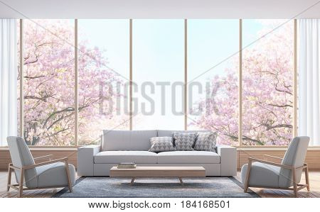 Modern living room decorate room with wood 3d rendering image.There wooden floor and large window Look out to see the tree with pink flowers.