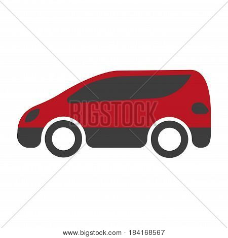 Red and black spacious minibus close-up icon on white background. Vector illustration of motor vehicle for carriage of passengers drawn image flat design. Realistic transportation sign in cartoon style.