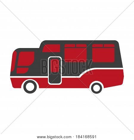 Realistic big waggon close-up icon on white background. Red and black van for carriage of passengers, globetrotting or delivery of goods. Vector illustration of transport graphic design cartoon style.
