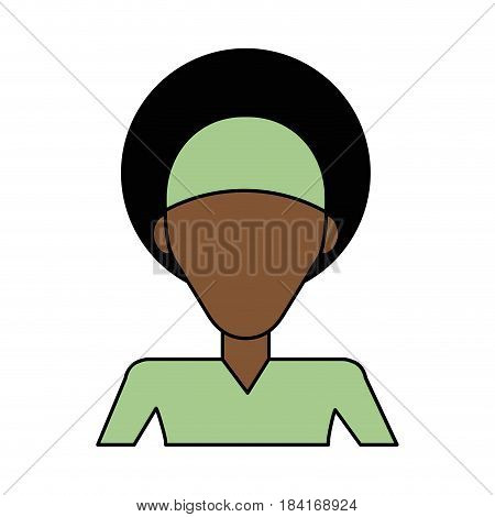 colorful caricature image faceless half body brunette woman with afro hair vector illustration