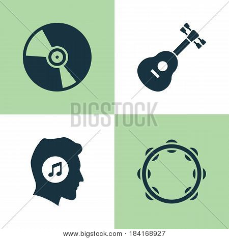 Multimedia Icons Set. Collection Of Instrument, Meloman, Cd And Other Elements. Also Includes Symbols Such As Turntable, Music, Timbrel.