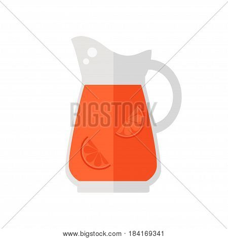 Juice jug icon. Grapefruit juice jug isolated icon on white background. Healthy drink. Flat style vector illustration.