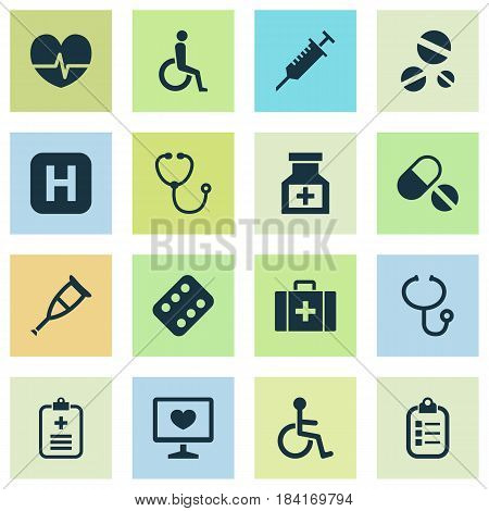 Drug Icons Set. Collection Of Remedy, Peck, Rhythm And Other Elements. Also Includes Symbols Such As Review, Invalid, Heartbeat.