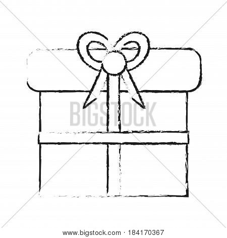 blurred silhouette giftbox with wrapping bow vector illustration