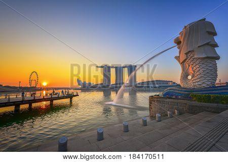 SINGAPORE - April 19 2017 : Singapore cityscape on sunrise scene. Singapore Marina Bay cityscape.