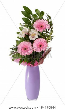 Bouquet of gerberas and alstroemeria in lilac vase isolated on white background