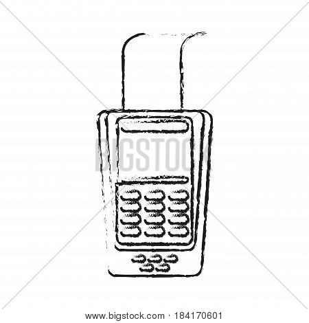 blurred silhouette dataphone with receipter paper and buttons vector illustration