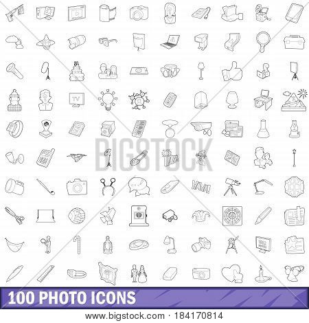 100 photo icons set in outline style for any design vector illustration