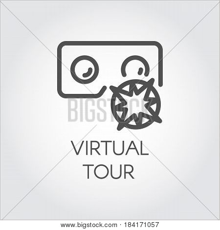 Black flat simple icon in style line art. Outline symbol with stylized image of a new app software virtual reality tour. Stroke vector logo digital VR technology future. Mono linear pictogram web.