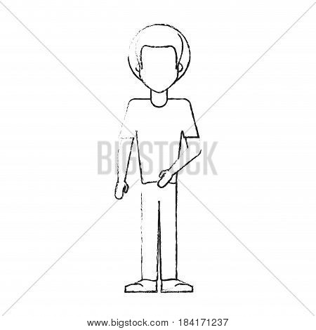 blurred silhouette caricature faceles body man with afro hair vector illustration