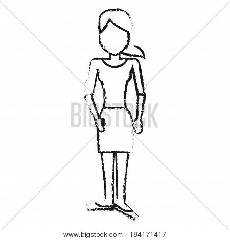 blurred silhouette caricature faceless woman with blouse and skirt vector illustration