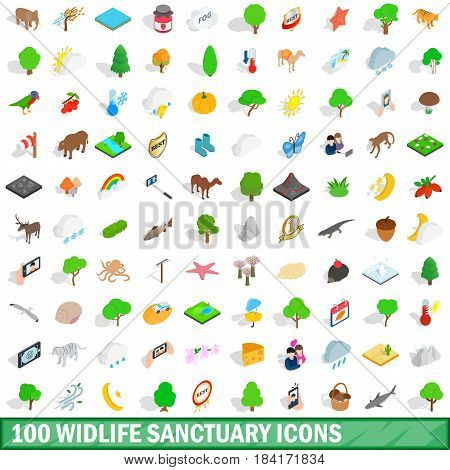 100 widlife sanctuary icons set in isometric 3d style for any design vector illustration