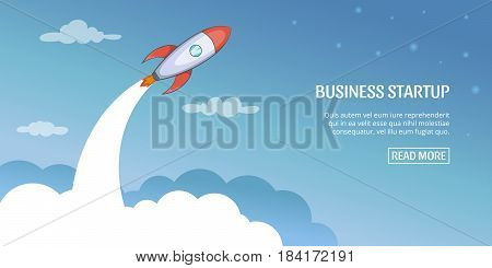 Business plan stratup banner horizaontal concept. Cartoon illustration of business plan startup banner horizontal vector concept for web