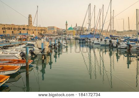 Fishing Harbor In The Old City Of Acre (akko)