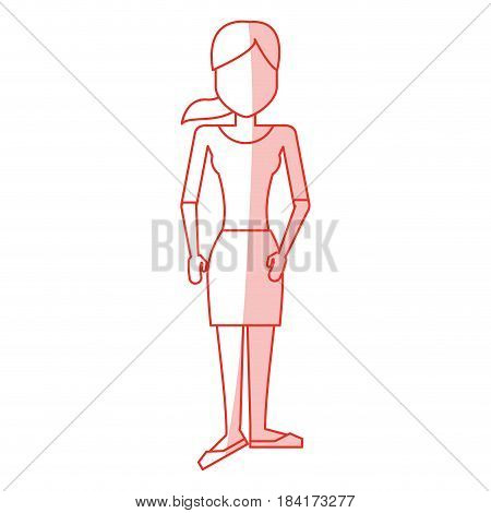 red silhouette shading caricature faceless woman with blouse and skirt vector illustration