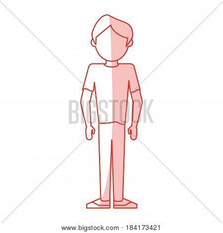 red silhouette shading caricature faceless man usual clothing vector illustration