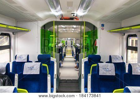 Interior of the polish diesel train PESA 730M (DP3) of the Belarussian railway. Minsk. November 2014