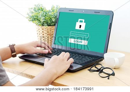 Man typing password on labtop screen background cyber security concept