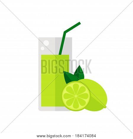 Lime fruit juice isolated icon on white background. Glass of juice with tubule. Flat style vector illustration.