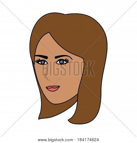 color image cartoon side profile face woman with straight short hairstyle vector illustration
