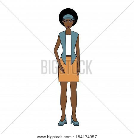 color image cartoon full body woman brunette with afro hairstyle vector illustration