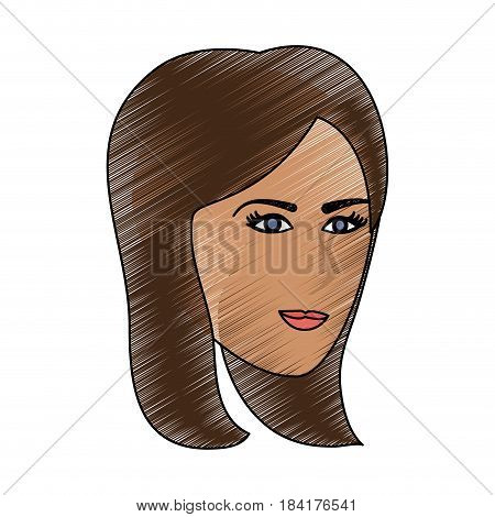 color pencil cartoon side profile face woman with straight short hairstyle vector illustration