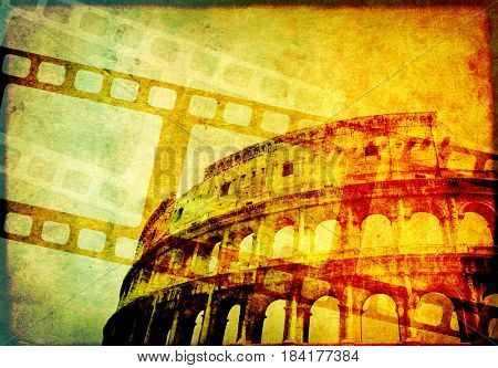 Grunge background with retro filmstrips, famous landmark of Rome - Colosseum, and old paper texture