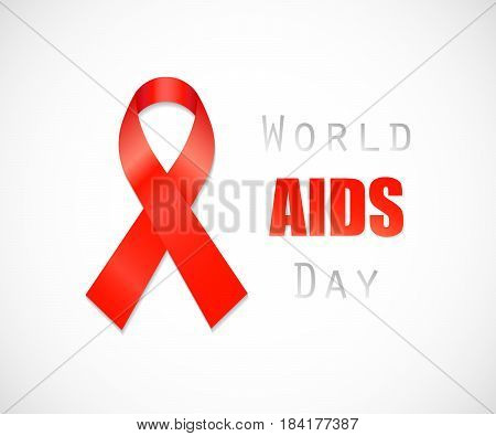 Aids Awareness Red Ribbon. isolated on background. Vector illustration. Eps 10.