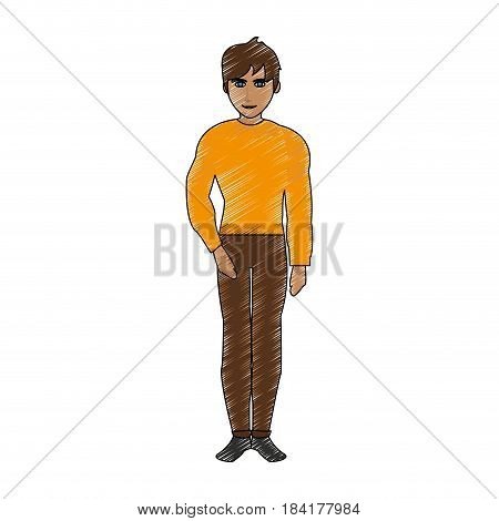 color pencil cartoon full body guy atlethic with casual clothing vector illustration