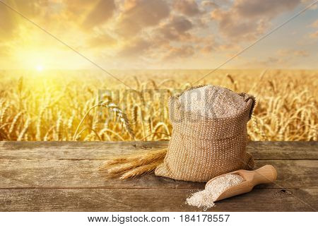 bran in bag and wooden scoop on table with ripe cereal field on the background. Food supplement to improve digestion. Dietary fiber. Product for healthy nutrition and diet. Golden field on sunset