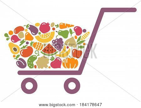 Stylized shopping cart full of fresh vegetables and fruits