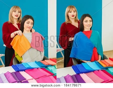 Comparison portrait of woman with right and wrong colors. Personal color analysis consultation. Stylist determines the colors that best suit an individual based on client natural colorings