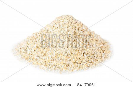 pile of bran isolated on white background. Food supplement to improve digestion. Dietary fiber. Product for healthy nutrition and diet