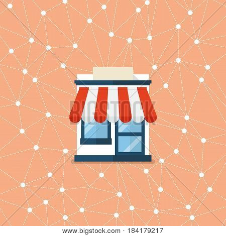 Shop store with network background. Vector flat style