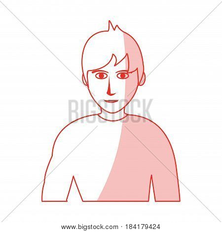 red silhouette shading cartoon half body man with muscular body vector illustration