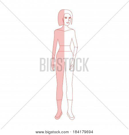 red silhouette shading cartoon full body woman with pants and top vector illustration