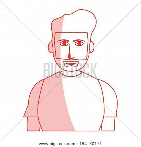 red silhouette shading cartoon half body guy with atlethic body and beard vector illustration