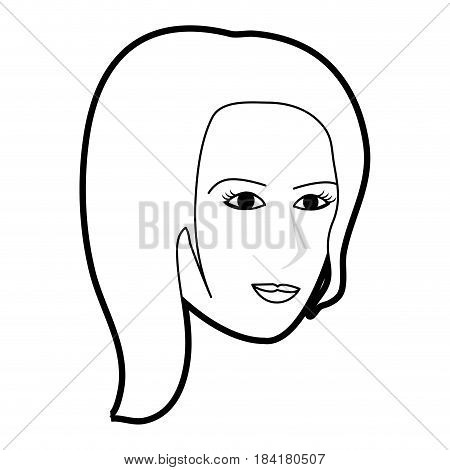 black silhouette cartoon side profile face woman with short hair vector illustration