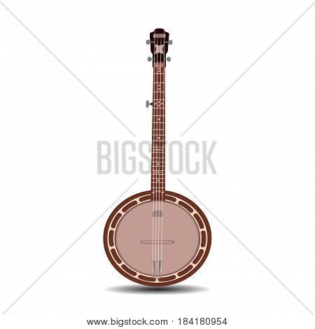 Vector illustration of banjo isolated on white background. Banjo, musical instrument in flat style.