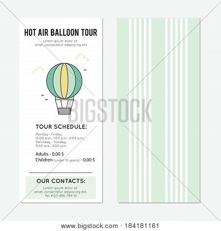 Hot air balloon ride vector vertical banner template. The tour announcement. For travel agency products, tour brochure, excursion banner. Simple mono linear modern design.