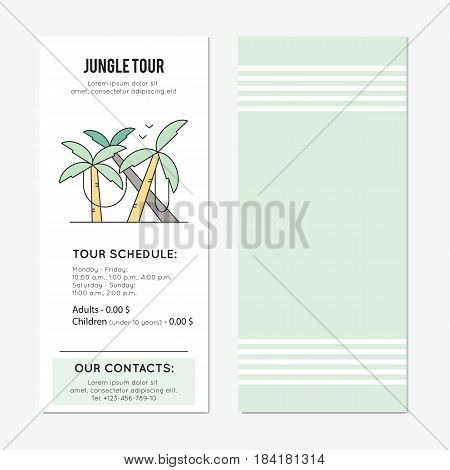 Palm forest with lianas. Jungle tour vector vertical banner template. The tour announcement. For travel agency products, tour brochure, excursion banner. Simple mono linear modern design.