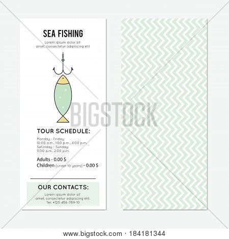 Fish on the hook. Fishing vector vertical banner template. The tour announcement. For travel agency products, tour brochure, excursion banner. Simple mono linear modern design.
