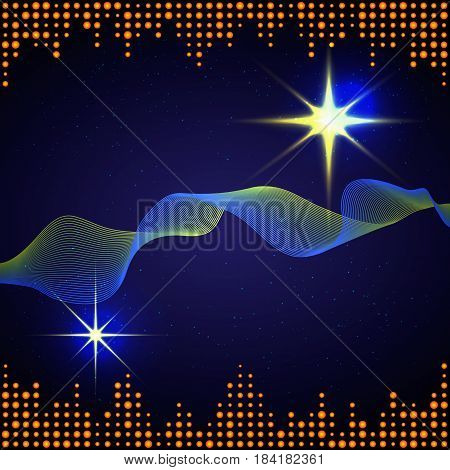 Abstract background with an equalizer flashes and the stellar sky.